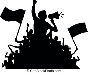 Man is a speaker with a loudspeaker. Crowd of people with flags, silhouette vector