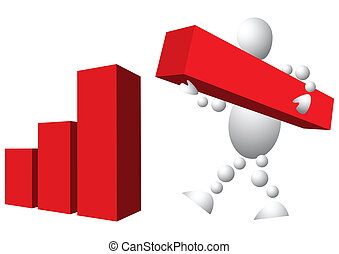 Man is building diagram from red blocks