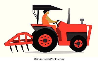 Man is driving a red tractor on white background