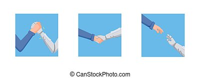Man is fighting robot concept. Hand character and robot are engaged in arm wrestling conclude truce help each other artificial technological power against human vector intelligence clipart energy