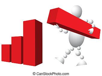man, is, gebouw, diagram, van, rood, blokjes