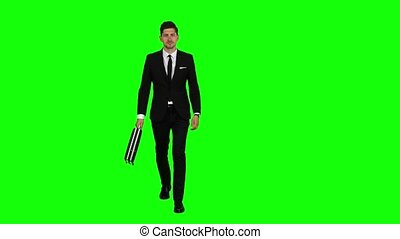 Man is going to a negotiation, he has a diplomat in his hands. Green screen