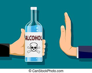 Man is holding a bottle of alcohol in his hand. Another person refuses to drink.