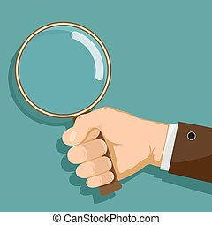 Man is holding a magnifying glass in his hand