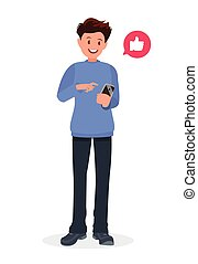 Man is holding a smartphone in his hand. Communication in the network, dating sites and social networks.