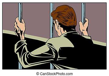 Man is in prison. Stock illustration.