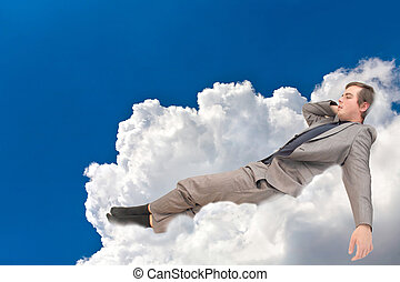 man is in the clouds