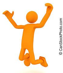 Man is joyful and bountiful. 3d image renderer