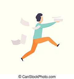 Man is late for work or at meeting, running with falling papers, busy and late businessman vector Illustration on a white background