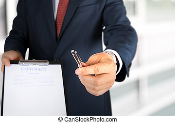 Man is offering to sign a contract