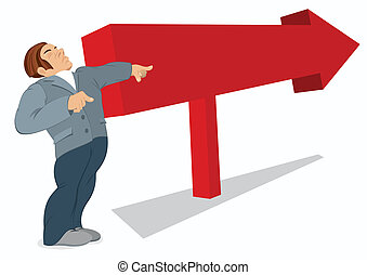 Man is pointing in the direction of a red arrow