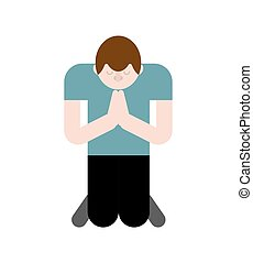 Man is praying on his knees. Prayer to God