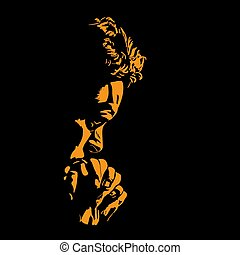 Man is praying. Silhouette in backlight. Illustration.