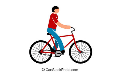 Man is riding a bicycle - colored animated looped icon with...