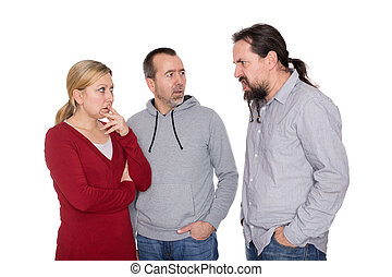 man is shouting to a couple
