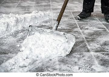 Man is shoveling snow