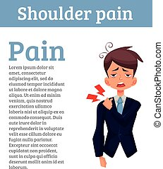 man is sick in his shoulder, a violation of the spine