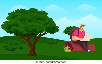 man is sitting in a garden and working on laptop