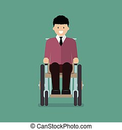 Man is sitting in a wheelchair