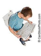 man is sitting on toilet
