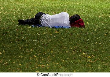 man is sleeping in the park