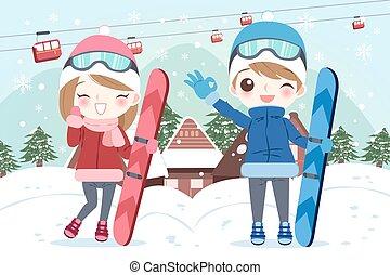 man is snowboarding
