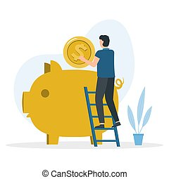 Man is standing on the stairs and puts in piggy bank a large gold coin.
