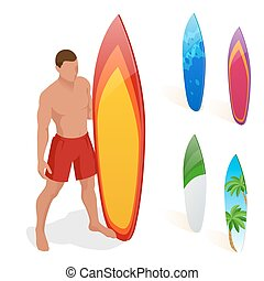 Man is standing with a surfboard in his hands. Flat 3d vector isometric illustration. Extreme water sports.