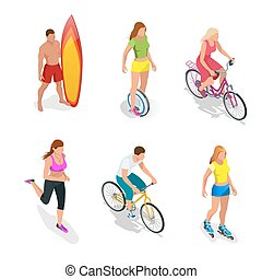 Man is standing with a surfboard in his hands. Roller Skating girl. One-wheeled Self-balancing electric scooter. Girl running. Active isometric vector People. Cyclists on bicycle. Healthy Lifestyle.