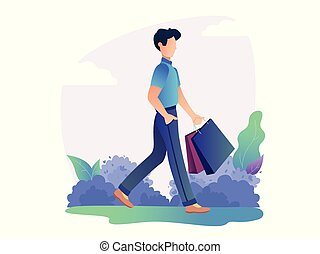 Man is standing with shopping bag in the park