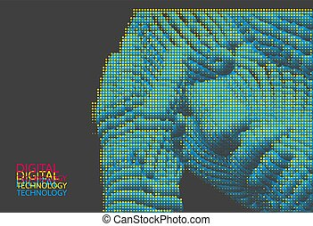 Man is thinking. Artificial intelligence concept. Digital technology background. Vector illustration.