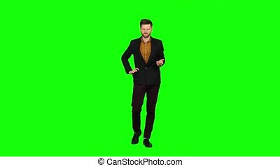 Man is very tired and thoughtful, reflects on life. Green screen