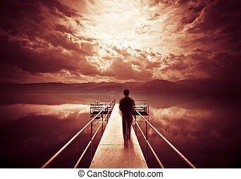 Man is Walking on the Pier
