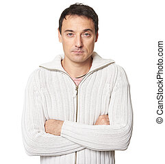 Man is wearing a sweater isolated on white