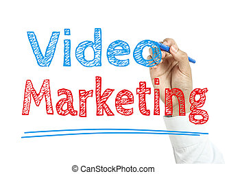Man is writing text Video marketing with marker on transparent wipe board.