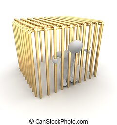 Man jailed in golden cage. 3d rendered illustration.