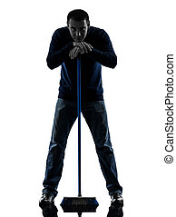 man janitor brooming cleaner boredom silhouette full length
