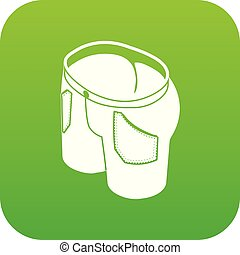 Man jeans icon green vector