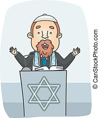 Illustration of a Rabbi Preaching from a Podium