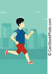An asian man training with earphones and a smart phone armband on a city background vector flat design illustration. Vertical layout.
