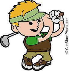 man, jonge, illustratie, golfing
