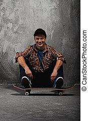 man, jonge, skateboard