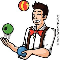 man juggling ball vector