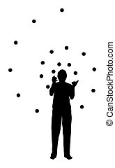 man juggling in spiral form - silhouette of a man juggling...