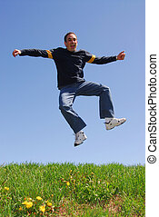 Man jumping in joy