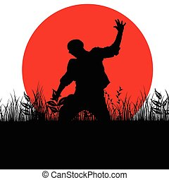 man jump in nature silhouette illustration