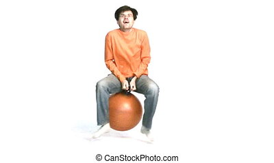 man jump on ball - Man jump on ball