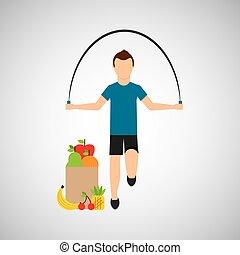 man jump rope exercising bag health food