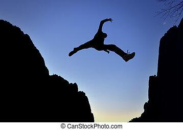 Man Jump through the Gap