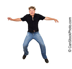 man jumped up on a white background